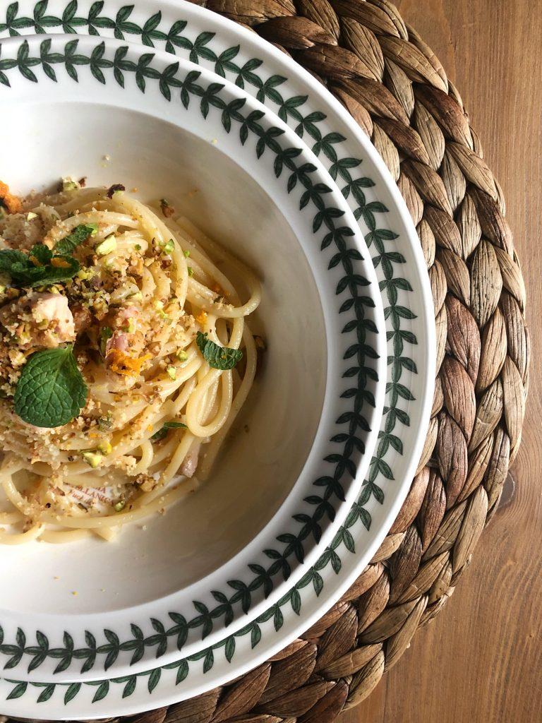 Spaghetti spada arancia e pistacchio